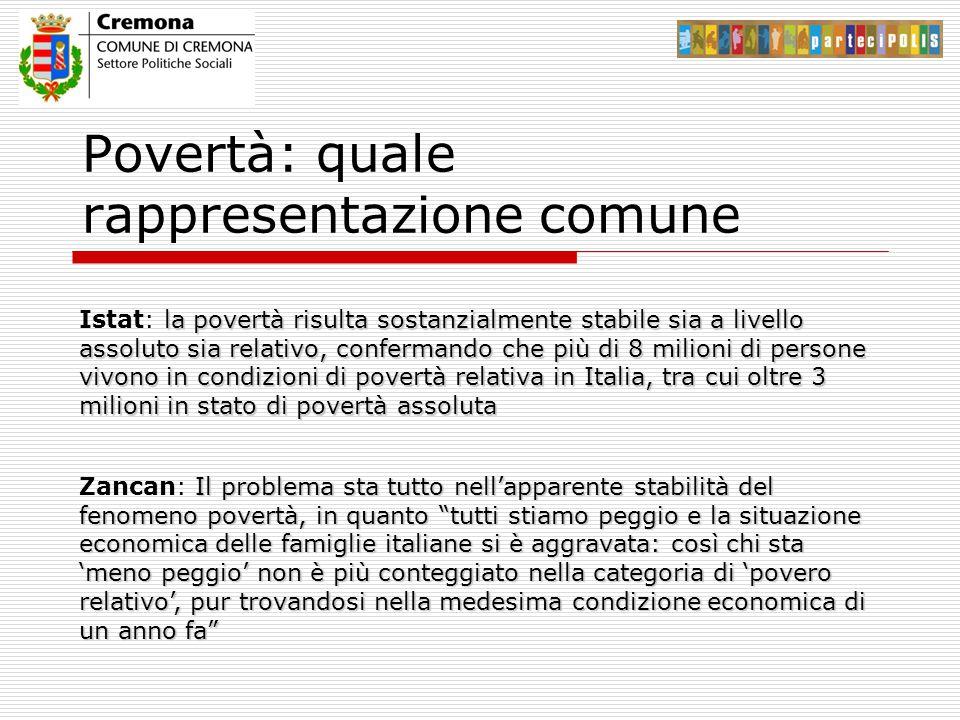 Povertà: quale rappresentazione comune la povertà risulta sostanzialmente stabile sia a livello assoluto sia relativo, confermando che più di 8 milioni di persone vivono in condizioni di povertà relativa in Italia, tra cui oltre 3 milioni in stato di povertà assoluta Istat: la povertà risulta sostanzialmente stabile sia a livello assoluto sia relativo, confermando che più di 8 milioni di persone vivono in condizioni di povertà relativa in Italia, tra cui oltre 3 milioni in stato di povertà assoluta Il problema sta tutto nell'apparente stabilità del fenomeno povertà, in quanto tutti stiamo peggio e la situazione economica delle famiglie italiane si è aggravata: così chi sta 'meno peggio' non è più conteggiato nella categoria di 'povero relativo', pur trovandosi nella medesima condizione economica di un anno fa Zancan: Il problema sta tutto nell'apparente stabilità del fenomeno povertà, in quanto tutti stiamo peggio e la situazione economica delle famiglie italiane si è aggravata: così chi sta 'meno peggio' non è più conteggiato nella categoria di 'povero relativo', pur trovandosi nella medesima condizione economica di un anno fa