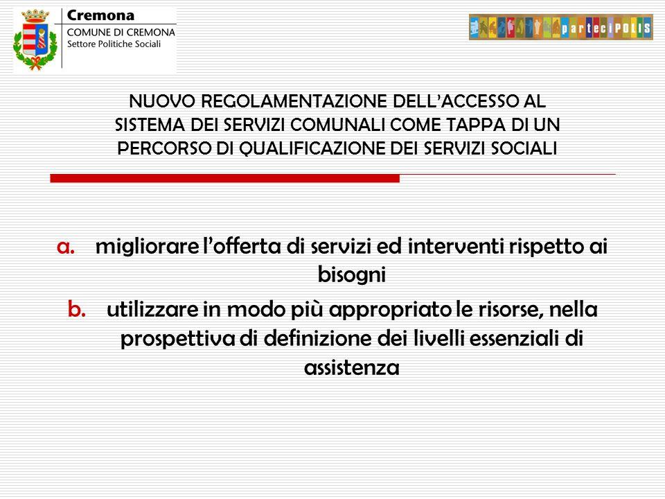 NUOVO REGOLAMENTAZIONE DELL'ACCESSO AL SISTEMA DEI SERVIZI COMUNALI COME TAPPA DI UN PERCORSO DI QUALIFICAZIONE DEI SERVIZI SOCIALI a.migliorare l'offerta di servizi ed interventi rispetto ai bisogni b.utilizzare in modo più appropriato le risorse, nella prospettiva di definizione dei livelli essenziali di assistenza