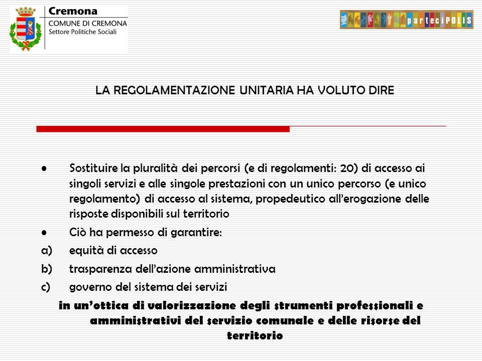 LA REGOLAMENTAZIONE UNITARIA HA VOLUTO DIRE Sostituire la pluralità dei percorsi (e di regolamenti: 20) di accesso ai singoli servizi e alle singole p