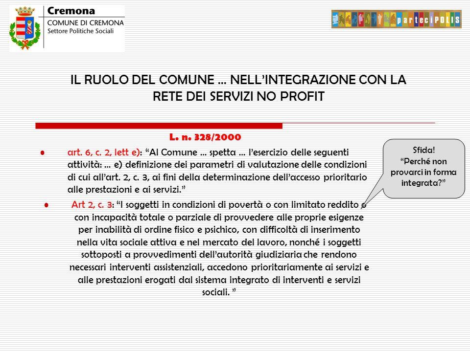 """IL RUOLO DEL COMUNE … NELL'INTEGRAZIONE CON LA RETE DEI SERVIZI NO PROFIT L. n. 328/2000 art. 6, c. 2, lett e): """"Al Comune … spetta … l'esercizio dell"""