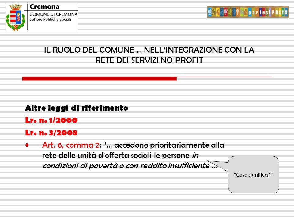 """IL RUOLO DEL COMUNE … NELL'INTEGRAZIONE CON LA RETE DEI SERVIZI NO PROFIT Altre leggi di riferimento Lr. n. 1/2000 Lr. n. 3/2008 Art. 6, comma 2: """"… a"""