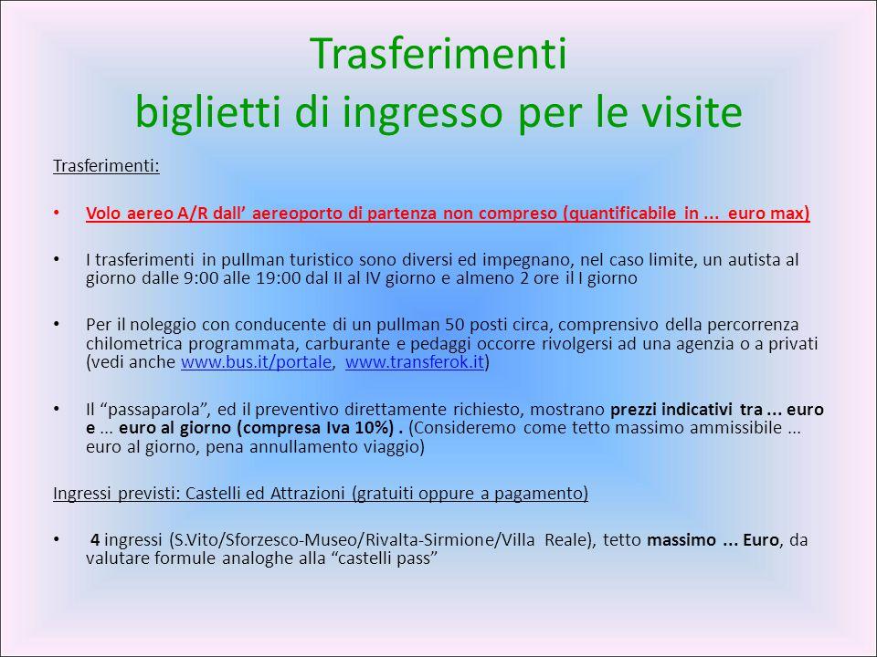 Trasferimenti biglietti di ingresso per le visite Trasferimenti: Volo aereo A/R dall' aereoporto di partenza non compreso (quantificabile in... euro m