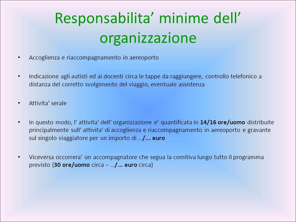 Responsabilita' minime dell' organizzazione Accoglienza e riaccompagnamento in aereoporto Indicazione agli autisti ed ai docenti circa le tappe da rag