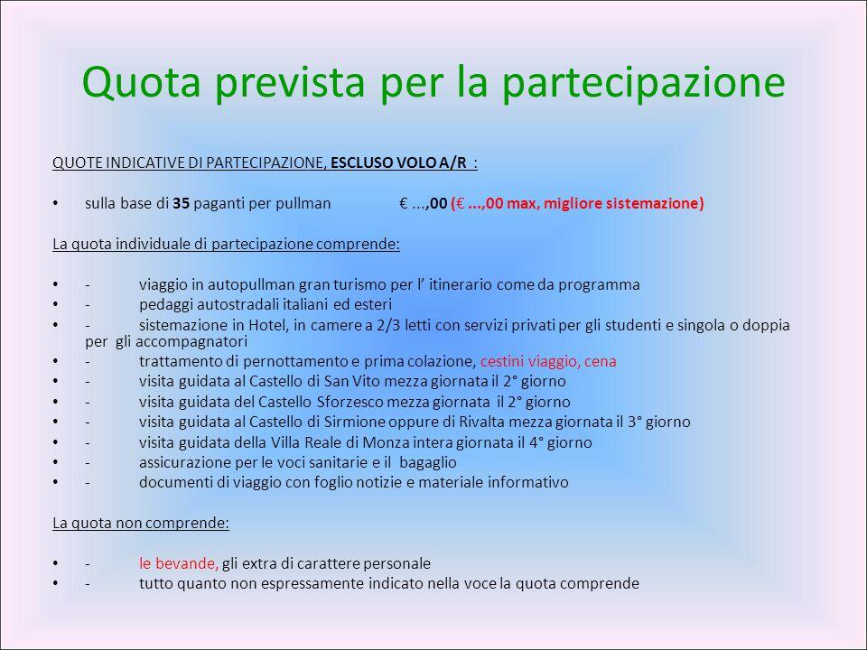 Quota prevista per la partecipazione QUOTE INDICATIVE DI PARTECIPAZIONE, ESCLUSO VOLO A/R : sulla base di 35 paganti per pullman€...,00 (€...,00 max,