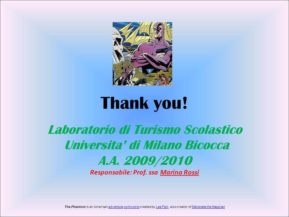 Thank you! Laboratorio di Turismo Scolastico Universita' di Milano Bicocca A.A. 2009/2010 Responsabile: Prof. ssa Marina Rossi The Phantom is an Ameri