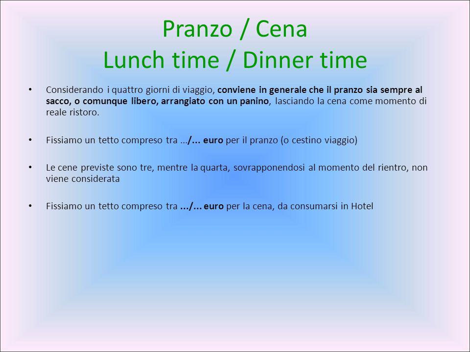 Pranzo / Cena Lunch time / Dinner time Considerando i quattro giorni di viaggio, conviene in generale che il pranzo sia sempre al sacco, o comunque li