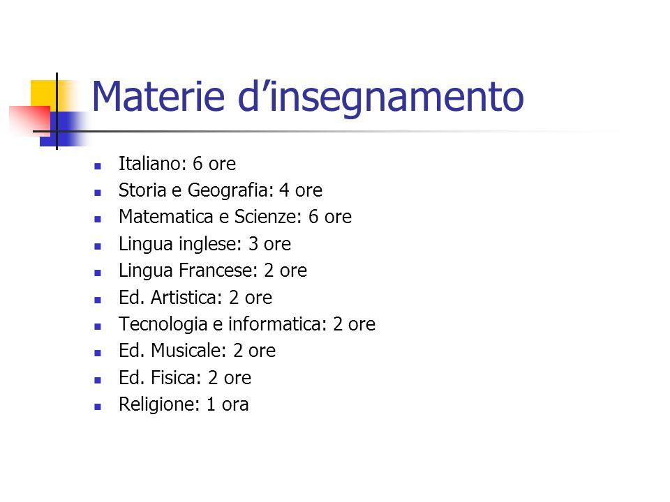 Materie d'insegnamento Italiano: 6 ore Storia e Geografia: 4 ore Matematica e Scienze: 6 ore Lingua inglese: 3 ore Lingua Francese: 2 ore Ed.