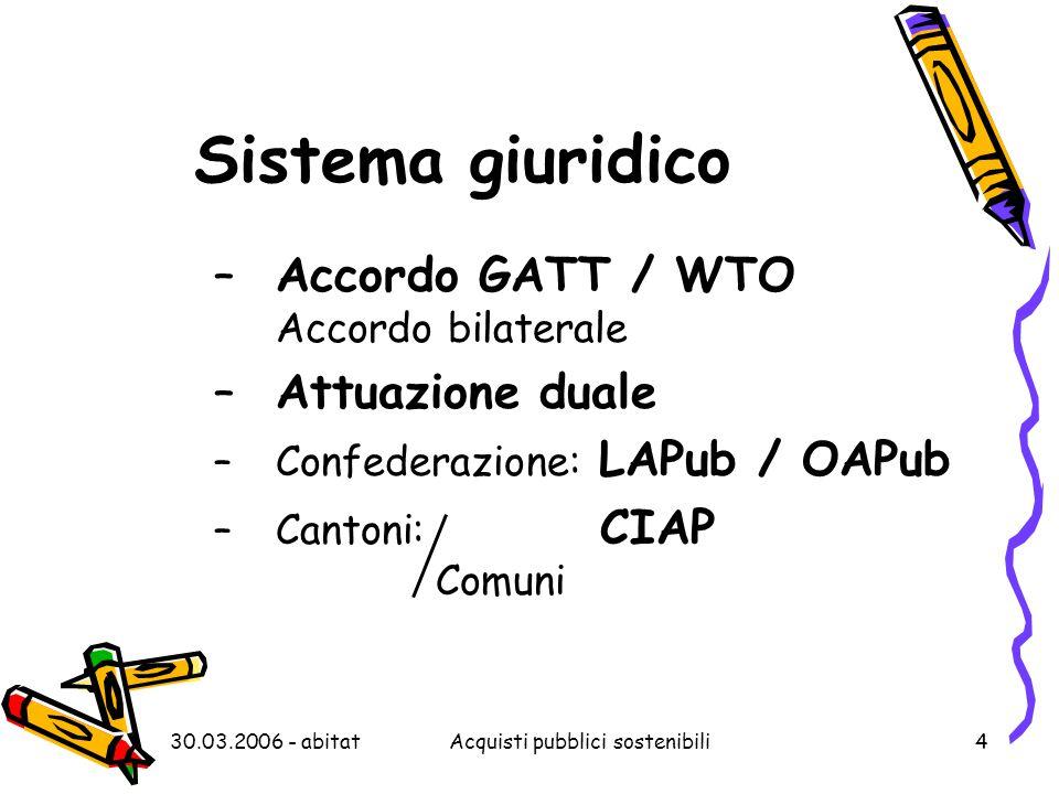 30.03.2006 - abitatAcquisti pubblici sostenibili4 Sistema giuridico –Accordo GATT / WTO Accordo bilaterale –Attuazione duale –Confederazione: LAPub / OAPub –Cantoni: CIAP Comuni