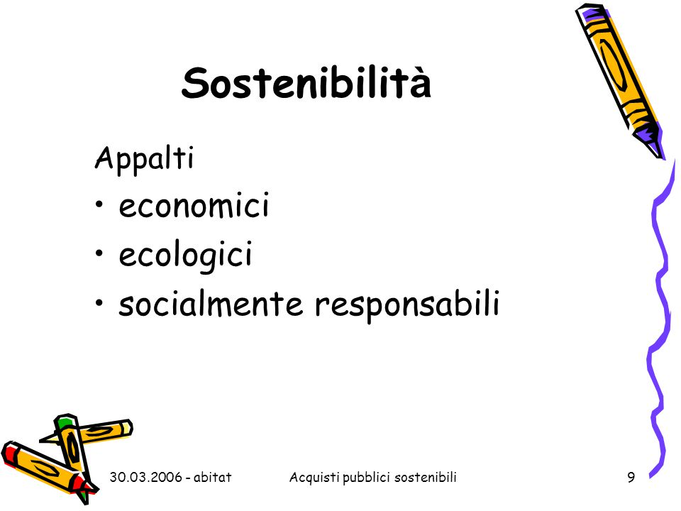 30.03.2006 - abitatAcquisti pubblici sostenibili9 Sostenibilit à Appalti economici ecologici socialmente responsabili
