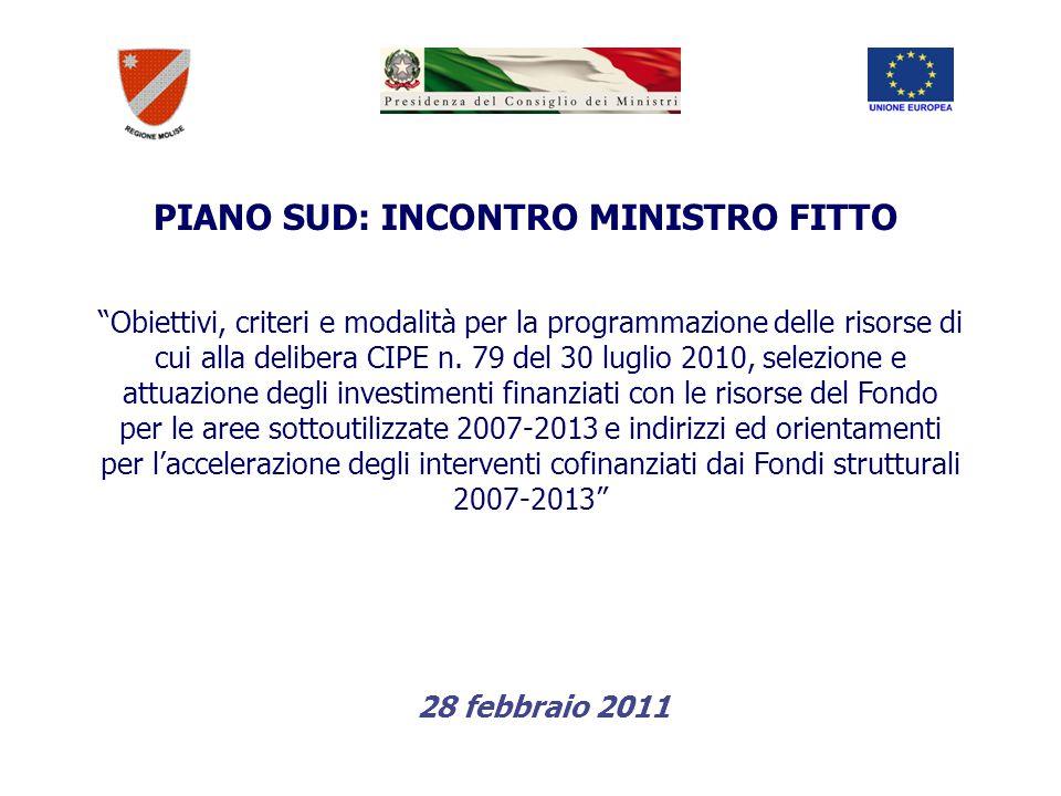 PIANO SUD: INCONTRO MINISTRO FITTO Obiettivi, criteri e modalità per la programmazione delle risorse di cui alla delibera CIPE n.