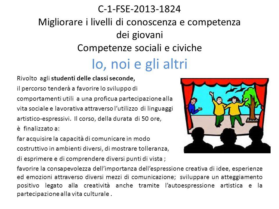 C-1-FSE-2013-1824 Migliorare i livelli di conoscenza e competenza dei giovani Competenze sociali e civiche Io, noi e gli altri Rivolto agli studenti d