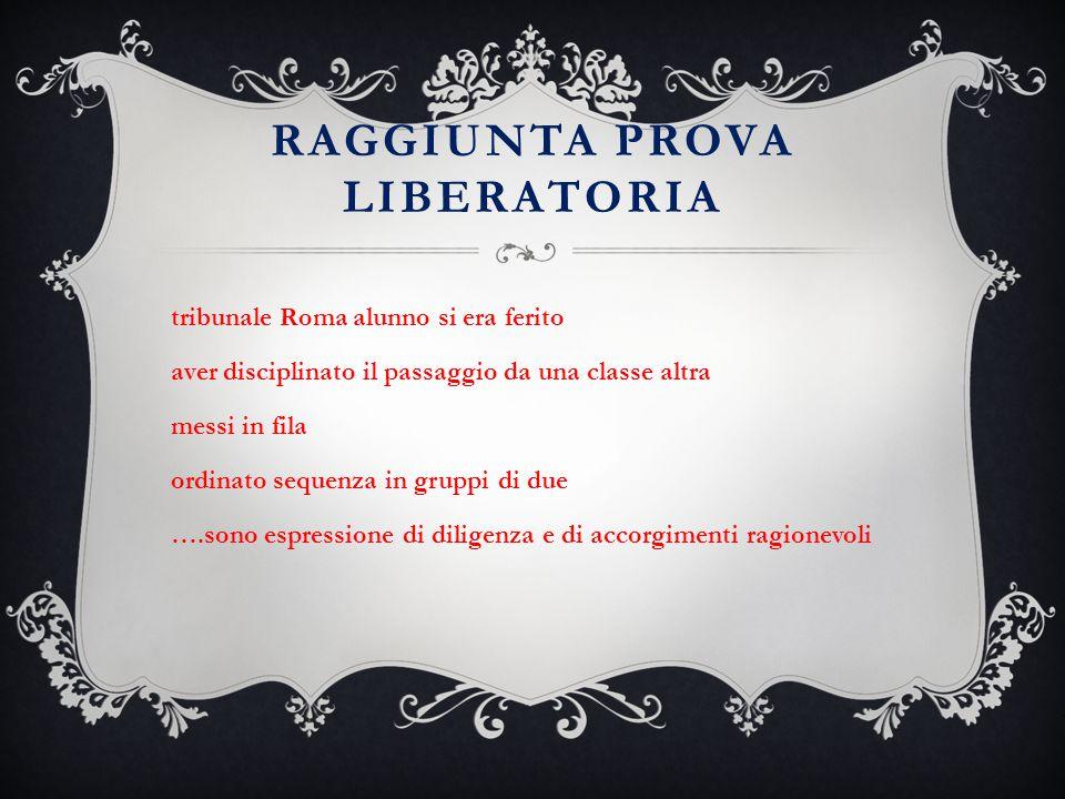 RAGGIUNTA PROVA LIBERATORIA tribunale Roma alunno si era ferito aver disciplinato il passaggio da una classe altra messi in fila ordinato sequenza in
