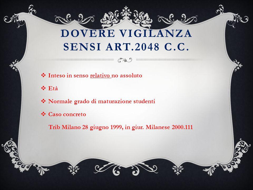 DOVERE VIGILANZA SENSI ART.2048 C.C.  Inteso in senso relativo no assoluto  Età  Normale grado di maturazione studenti  Caso concreto Trib Milano