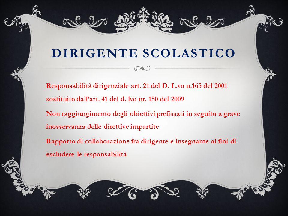 DIRIGENTE SCOLASTICO Responsabilità dirigenziale art. 21 del D. L.vo n.165 del 2001 sostituito dall'art. 41 del d. lvo nr. 150 del 2009 Non raggiungim