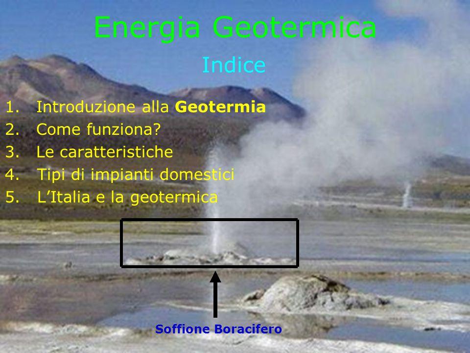Indice 1.Introduzione alla Geotermia 2.Come funziona? 3.Le caratteristiche 4. Tipi di impianti domestici 5. L'Italia e la geotermica Soffione Boracife