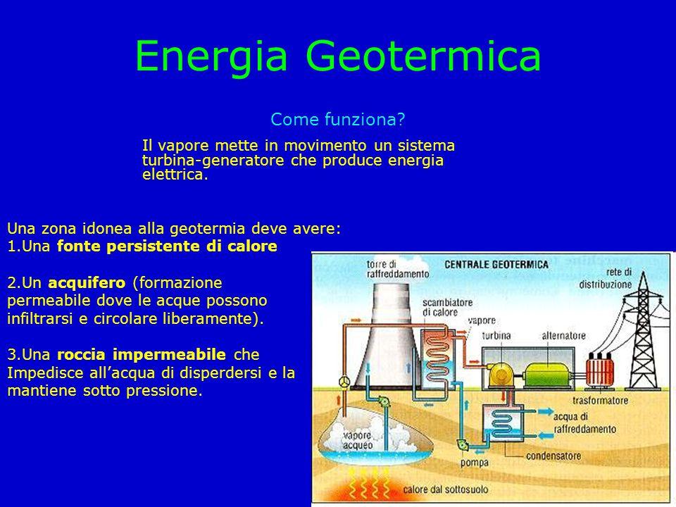 Energia Geotermica Come funziona? Il vapore mette in movimento un sistema turbina-generatore che produce energia elettrica. Una zona idonea alla geote