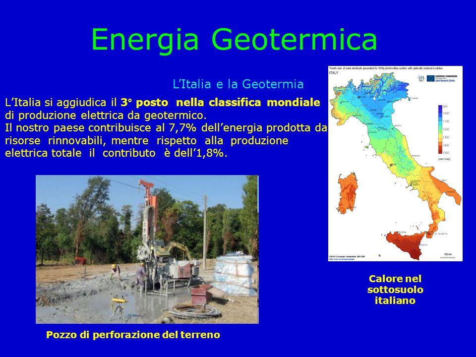 Energia Geotermica L'Italia e la Geotermia L'Italia si aggiudica il 3° posto nella classifica mondiale di produzione elettrica da geotermico. Il nostr
