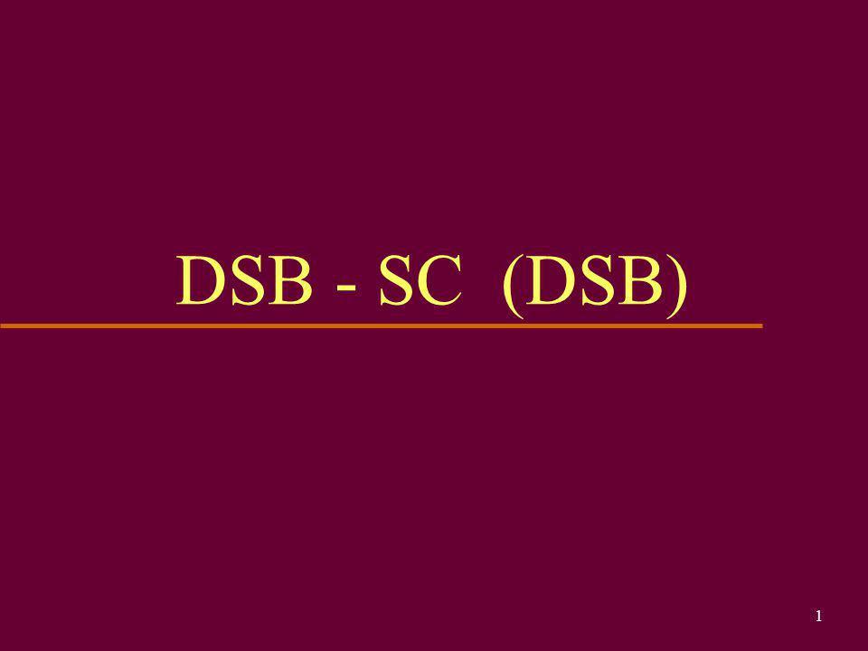 21 DSB - SC (DSB) u Il segnale ottenuto (e il relativo spettro) è il segnale modulato DSB-SC (Double SideBand Suppressed Carrier) ovvero a modulazione di ampiezza a doppia banda laterale con portante soppressa (per gli amici DSB e basta) A   c -  m  c +  m cc