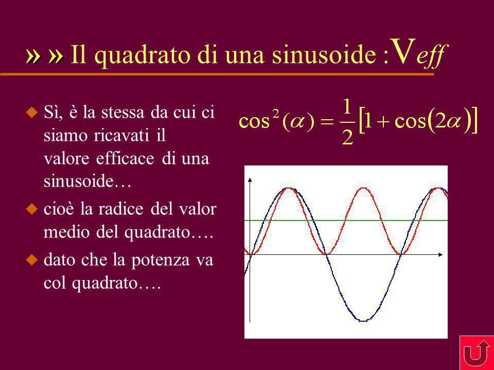 13 » » Werner u Si tratta di una delle ben note in trigonometria formule di Werner, ( Johann, Norimberga, 14.2.1468 - ?.5.1522, matematico, astronomo, geografo, in matematica si occupò, fra l'altro, di trigonometria sferica e di sezioni coniche, come astronomo si occupò anche del famoso problema della longitudine )  è interessante notare che se prendo  ottengo il quadrato di una sinusoide: u È ancora una sinusoide (!) u È ancora una sinusoide (!) a frequenza doppia e di ampiezza metà, più una componente continua = 1/2 u Vi ricorda qualcosa ?