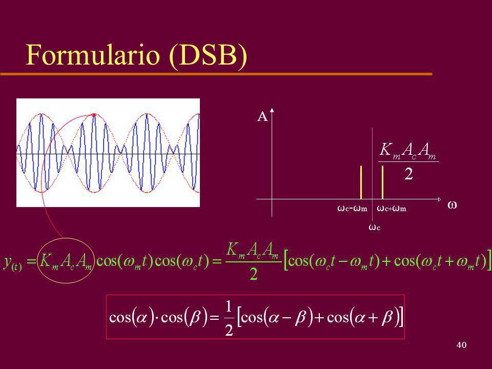 39 Modulatore e demodulatore DSB- schemi a blocchi u Beh, il modulatore è semplicemente un moltiplicatore (ricordiamo la costante moltiplicativa in V -1 ) u Il demodulatore non è molto più complicato : moltiplicatore + filtro passa basso cos(  c ) cos(  m ) DSB-SC cos(  m ) DSB-SC cos(  c )