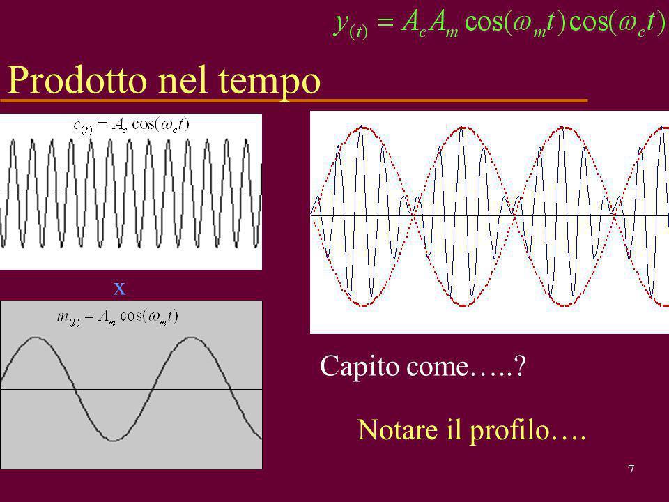 17 u Matematicamente oramai è chiaro ma cerchiamo di capire anche fisicamente ciò che è accaduto:  abbiamo attenuto 2 righe a frequenza prossima (  m<<  c ) a quella della portante non modulata, equidistanti e speculari rispetto ad essa (stanno 'a cavallo'), tutte e due quindi in alta frequenza u manca la riga del modulante u manca la riga della portante Esame spettro A   c -  m  c +  m cc