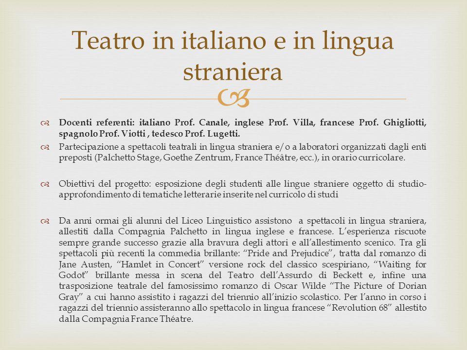   Docenti referenti: italiano Prof. Canale, inglese Prof. Villa, francese Prof. Ghigliotti, spagnolo Prof. Viotti, tedesco Prof. Lugetti.  Partecip