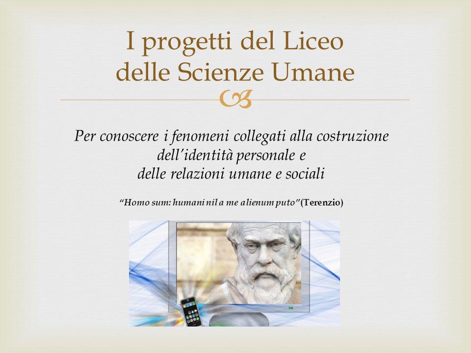  I progetti del Liceo delle Scienze Umane Per conoscere i fenomeni collegati alla costruzione dell'identità personale e delle relazioni umane e socia