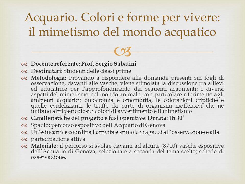   Docente referente: Prof. Sergio Sabatini  Destinatari : Studenti delle classi prime  Metodologia : Provando a rispondere alle domande presenti s