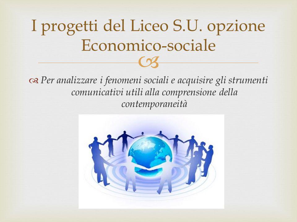   Per analizzare i fenomeni sociali e acquisire gli strumenti comunicativi utili alla comprensione della contemporaneità I progetti del Liceo S.U. o