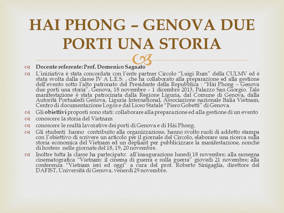 """  Docente referente: Prof. Domenico Saguato  L'iniziativa è stata concordata con l'ente partner Circolo """"Luigi Rum"""" della CULMV ed è stata svolta d"""
