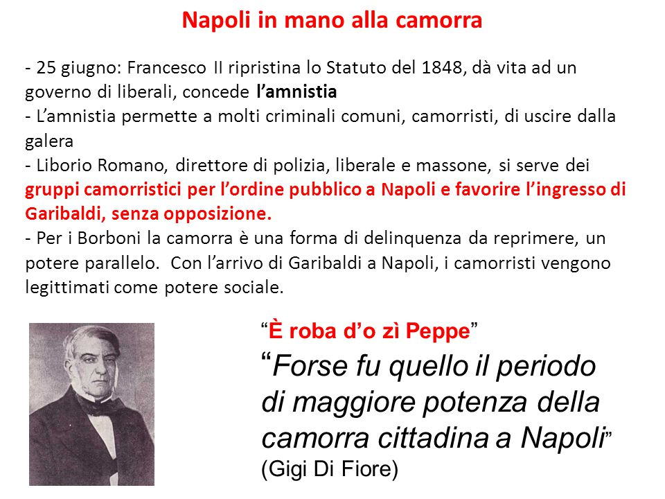 Napoli in mano alla camorra - 25 giugno: Francesco II ripristina lo Statuto del 1848, dà vita ad un governo di liberali, concede l'amnistia - L'amnist