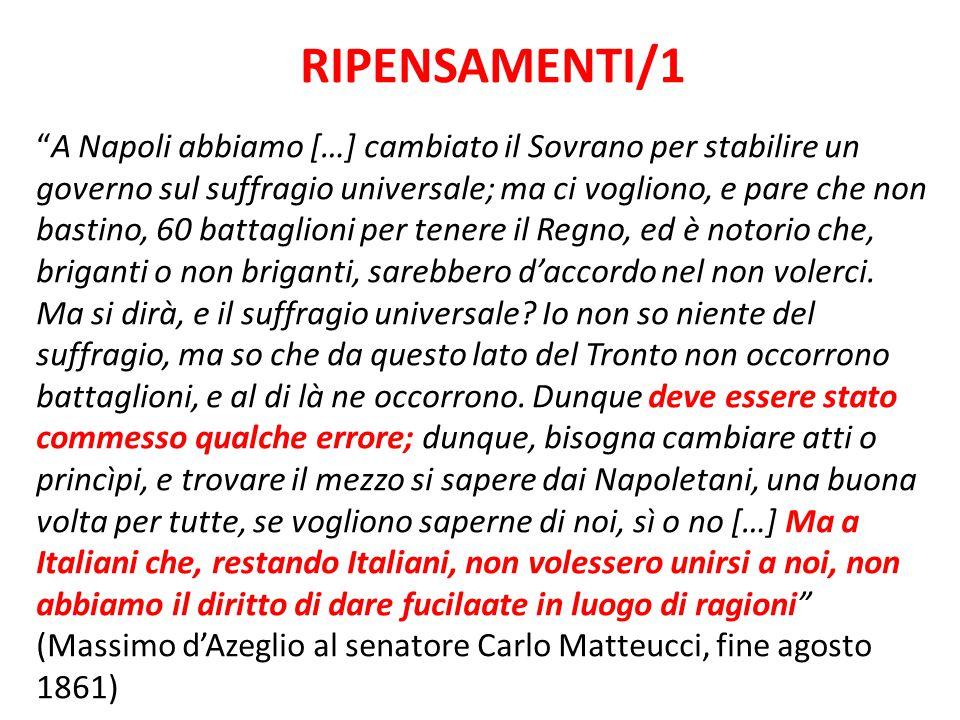 """RIPENSAMENTI/1 """"A Napoli abbiamo […] cambiato il Sovrano per stabilire un governo sul suffragio universale; ma ci vogliono, e pare che non bastino, 60"""