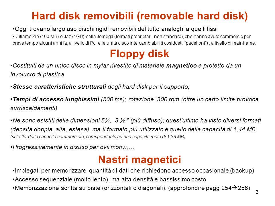 6 Hard disk removibili (removable hard disk) Oggi trovano largo uso dischi rigidi removibili del tutto analoghi a quelli fissi Citiamo Zip (100 MB) e Jaz (1GB) della Jomega (formati proprietari, non standard), che hanno avuto commercio per breve tempo alcuni anni fa, a livello di Pc, e le unità disco intercambiabili (i cosiddetti padelloni ), a livello di mainframe.