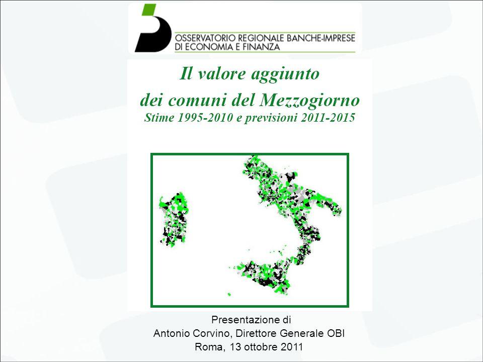 MEZZOGIORNO Incidenza sul PIL italiano previsioni 2011-2015 confronto con il dato del 2007 (prezzi costanti del 2005 ; dati in % sul PIL ITALIA) 12 Fonte: Osservatorio Regionale Banche Imprese Anche il divario assoluto rispetto all'Italia si accentua