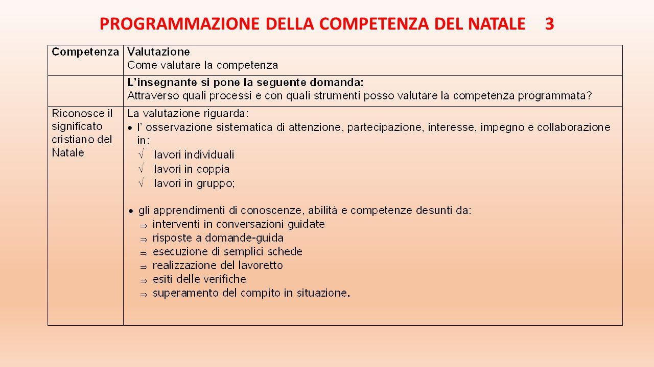 PROGRAMMAZIONE DELLA COMPETENZA DEL NATALE 3