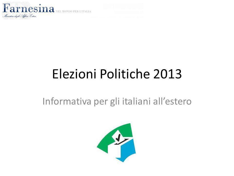 Elezioni Politiche 2013 Informativa per gli italiani all'estero