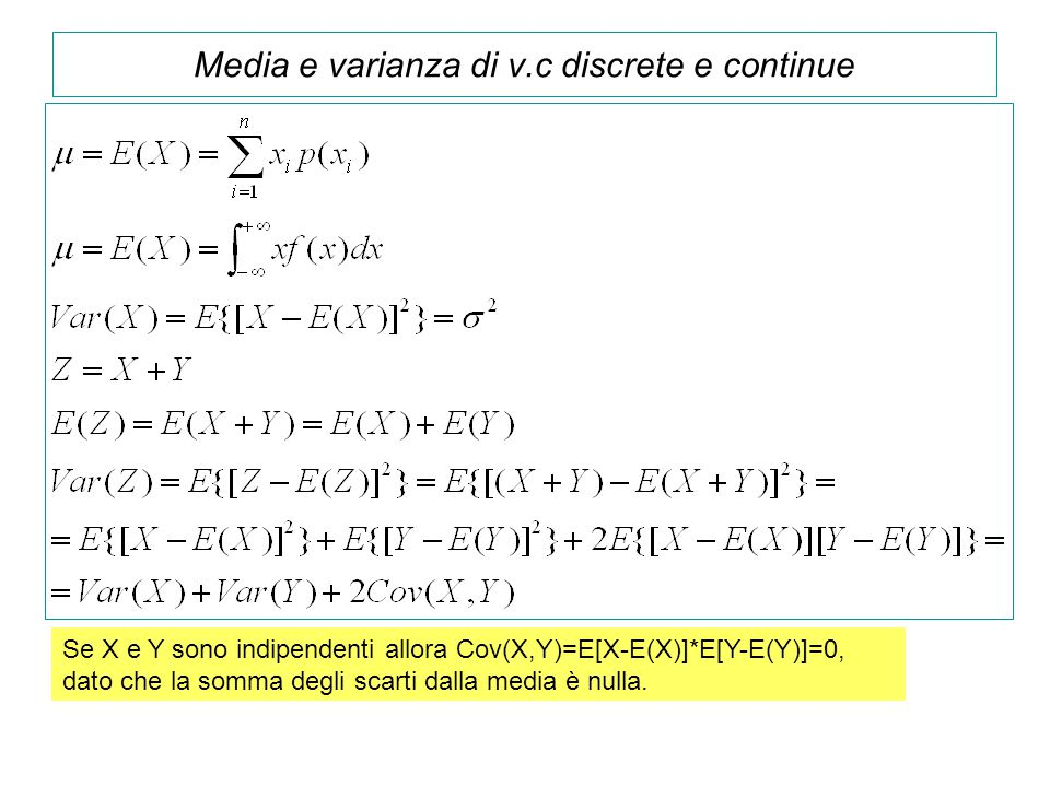 Media e varianza di v.c discrete e continue Se X e Y sono indipendenti allora Cov(X,Y)=E[X-E(X)]*E[Y-E(Y)]=0, dato che la somma degli scarti dalla med