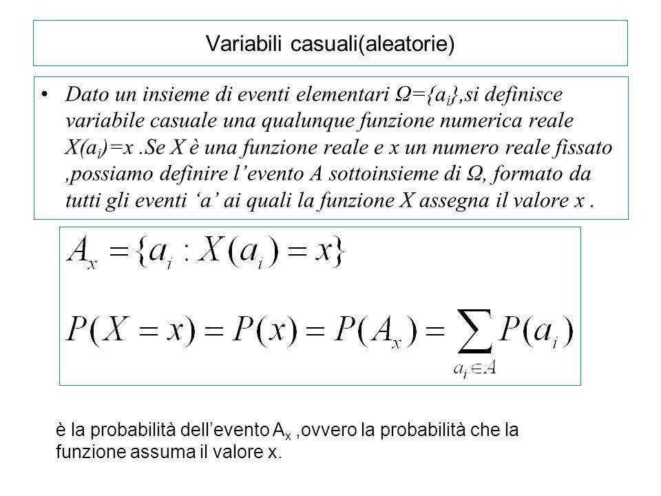 Variabili casuali(aleatorie) Dato un insieme di eventi elementari Ω={a i },si definisce variabile casuale una qualunque funzione numerica reale X(a i