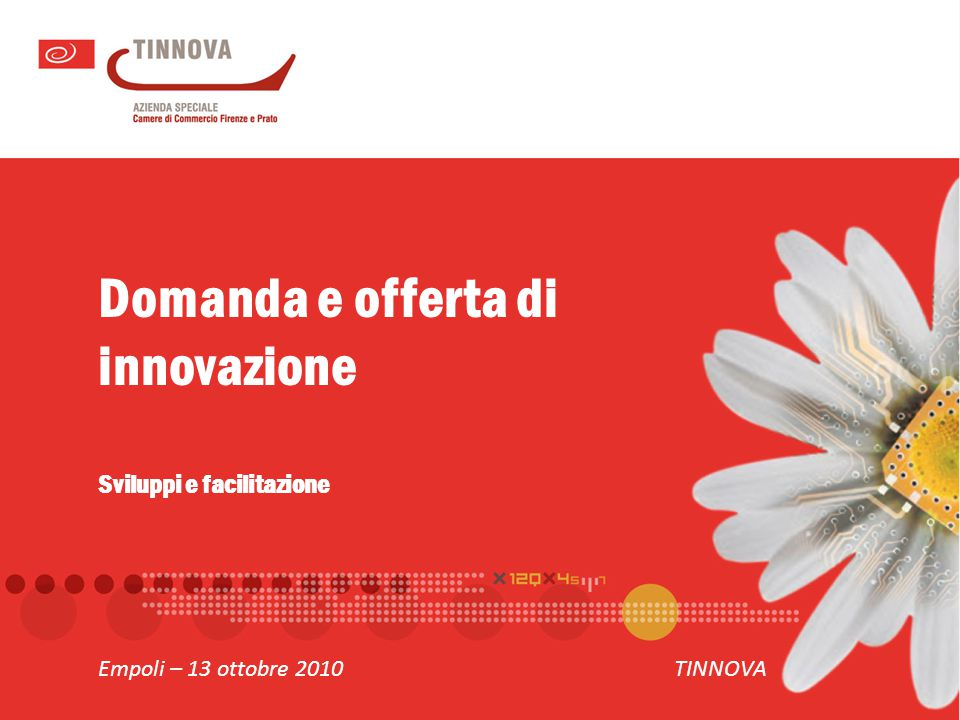 Domanda e offerta di innovazione Sviluppi e facilitazione Empoli – 13 ottobre 2010TINNOVA