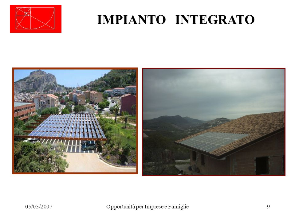 05/05/2007Opportunità per Imprese e Famiglie9 IMPIANTO INTEGRATO