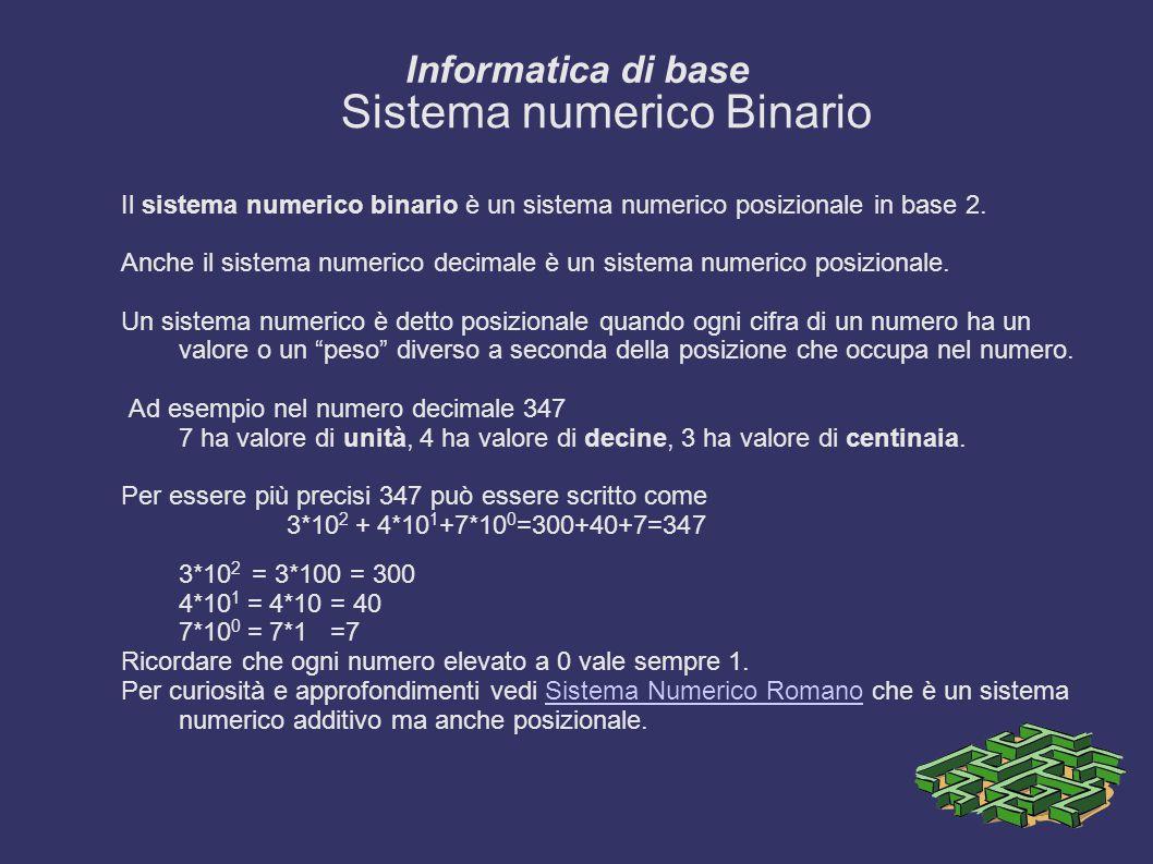 Informatica di base Sistema numerico Binario Il sistema numerico binario è un sistema numerico posizionale in base 2.