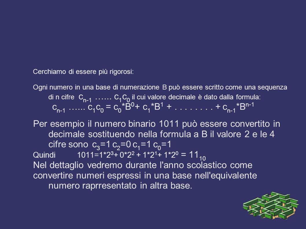 Cerchiamo di essere più rigorosi: Ogni numero in una base di numerazione B può essere scritto come una sequenza di n cifre c n-1 …...