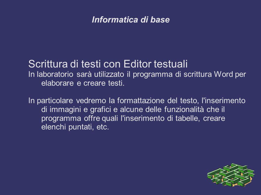 Informatica di base Scrittura di testi con Editor testuali In laboratorio sarà utilizzato il programma di scrittura Word per elaborare e creare testi.