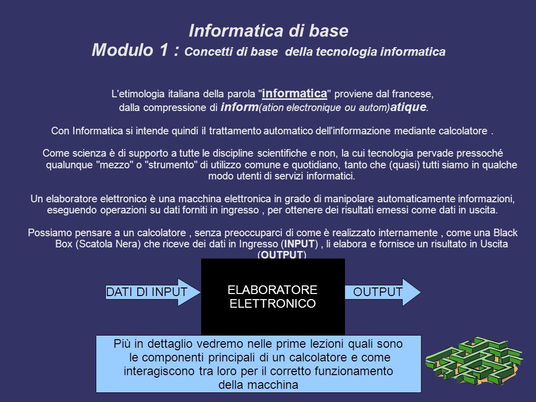 Informatica di base Modulo 1 : Concetti di base della tecnologia informatica L etimologia italiana della parola informatica proviene dal francese, dalla compressione di inform (ation electronique ou autom) atique.