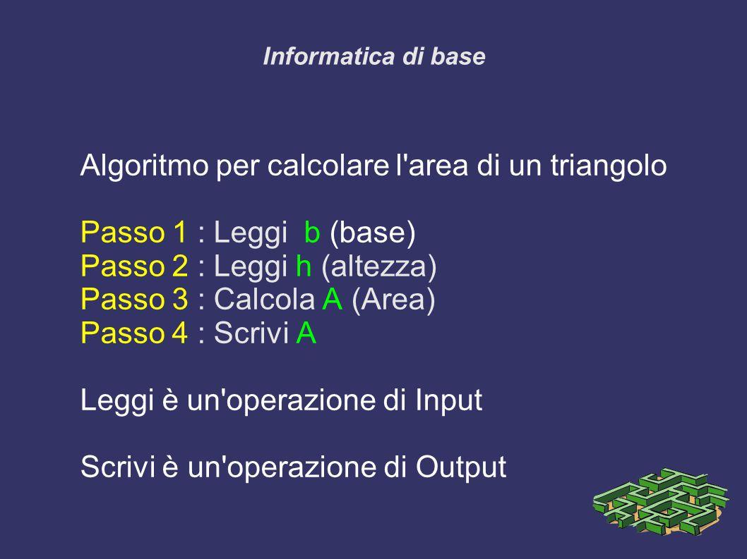 Informatica di base Algoritmo per calcolare l area di un triangolo Passo 1 : Leggi b (base) Passo 2 : Leggi h (altezza) Passo 3 : Calcola A (Area) Passo 4 : Scrivi A Leggi è un operazione di Input Scrivi è un operazione di Output