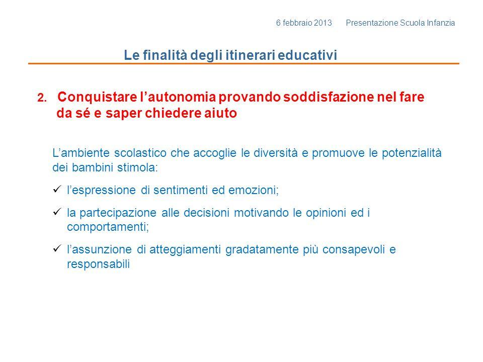 6 febbraio 2013 Presentazione Scuola Infanzia Le finalità degli itinerari educativi 3.