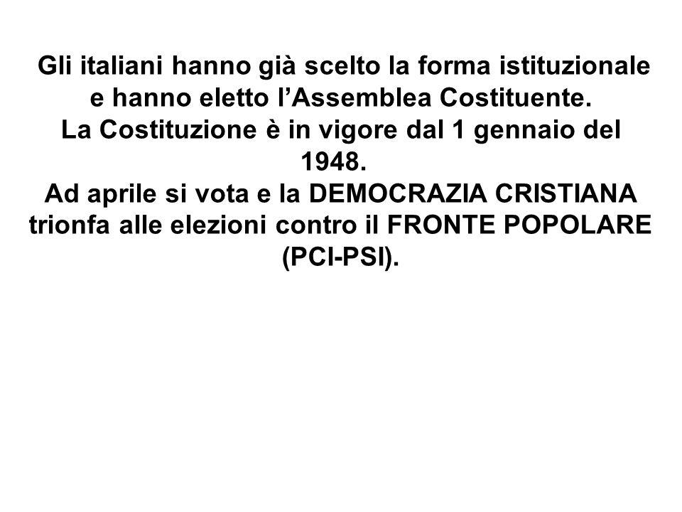 Gli italiani hanno già scelto la forma istituzionale e hanno eletto l'Assemblea Costituente. La Costituzione è in vigore dal 1 gennaio del 1948. Ad ap