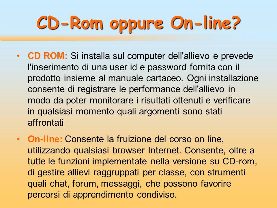 CD-Rom oppure On-line? CD ROM: Si installa sul computer dell'allievo e prevede l'inserimento di una user id e password fornita con il prodotto insieme