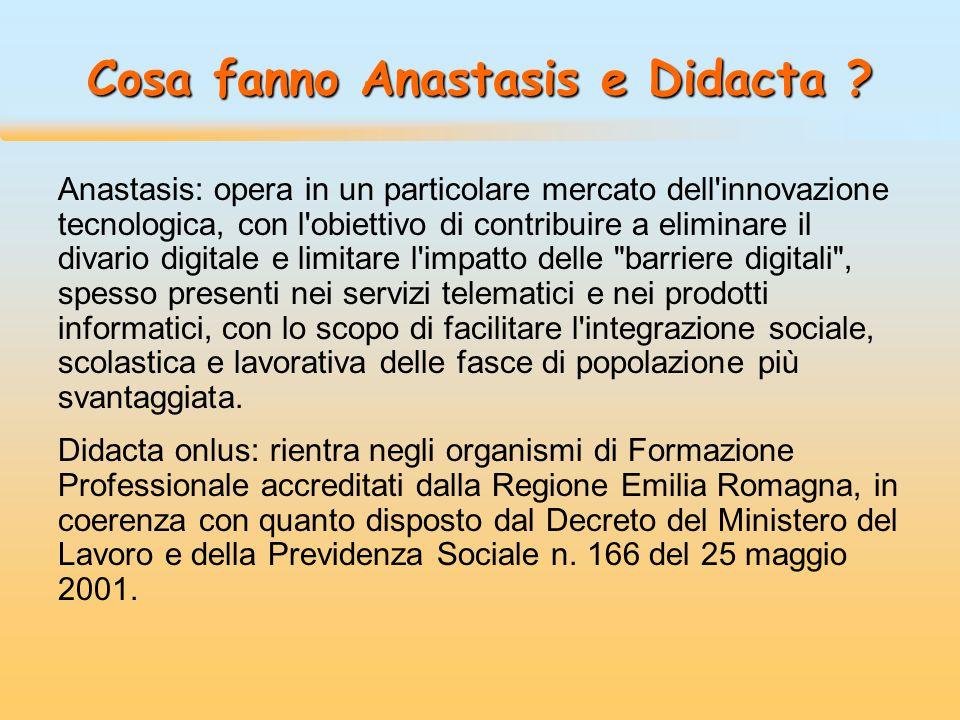 Cosa fanno Anastasis e Didacta ? Anastasis: opera in un particolare mercato dell'innovazione tecnologica, con l'obiettivo di contribuire a eliminare i