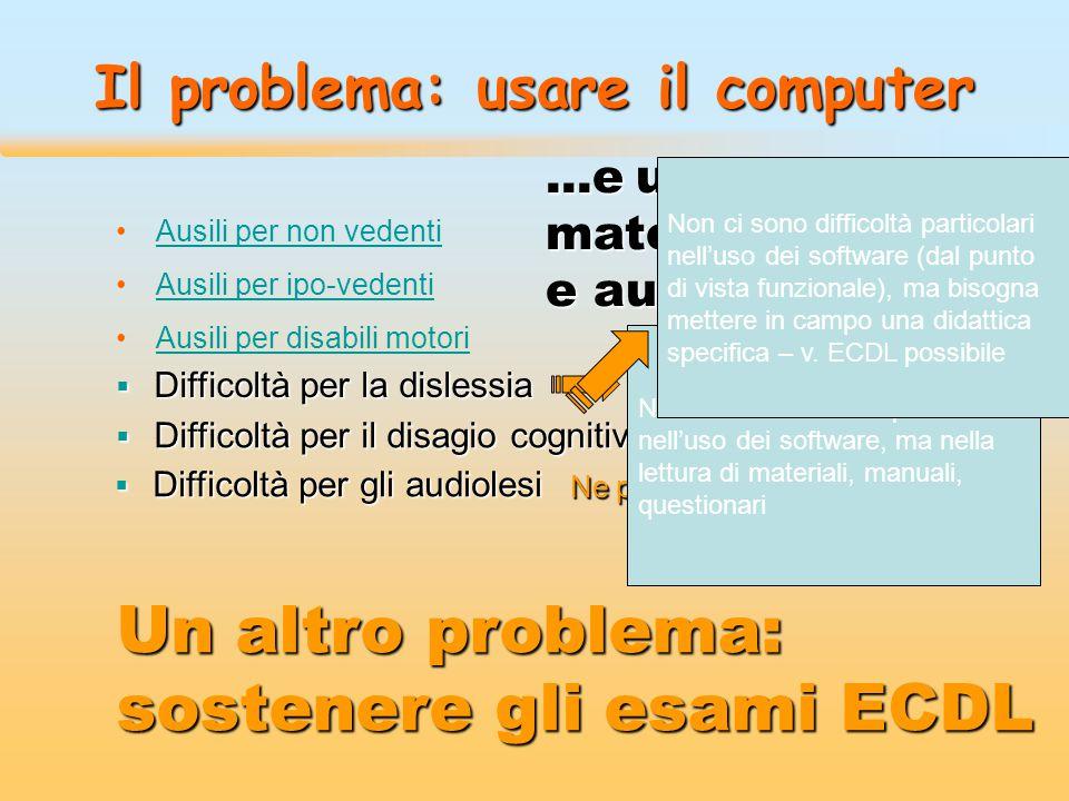 Il problema: usare il computer Ausili per non vedentiAusili per non vedenti Ausili per ipo-vedentiAusili per ipo-vedenti Ausili per disabili motoriAus